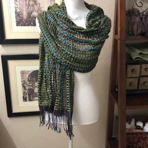 Green Loose Fringed is Scarf.